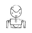 figure tecnology robot face with chest design vector image