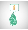 food healthy heart wheat concept design icon vector image