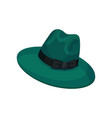 green hat with wide brim for men vector image vector image