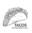 hand drawn tacos icon vector image