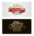 Hand sketched Happy Holidays logotype badgeicon vector image vector image