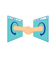 Internet Handshake Over Window vector image vector image