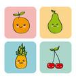 kawaii fruits design vector image vector image