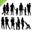 Kids and family silhouette vector image vector image