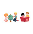 kids children learning studying globe reading vector image vector image