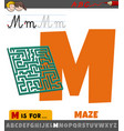 letter m from alphabet with maze object