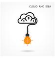 Light Bulb Idea Icon and Cloud Logo Design vector image
