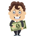 man holding money on white background vector image vector image