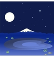 Mountain and lake in the night sky vector image