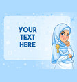 muslim woman having her hand under chin vector image vector image