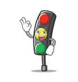 okay traffic light character cartoon vector image