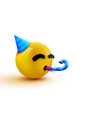 party face emoji - yellow face with a party hat vector image vector image