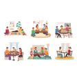 people play board games at home happy vector image