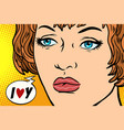 pop art woman i love you vector image
