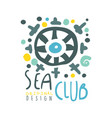 sea club original logo design summer travel and vector image vector image