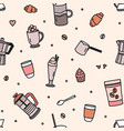 seamless pattern with pastry milkshake tools vector image vector image