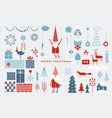 set graphic elements for christmas cards vector image vector image