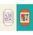 Smart watch designs in line art and outline style vector image vector image
