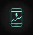 smartphone with chart icon in neon line style vector image vector image