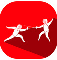 Sport icon design for fencing on red tag vector image vector image