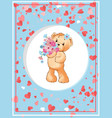 teddy holding flowers plush toy in circle vector image