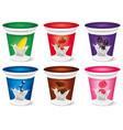 template milk yogurt cream with fruits vector image vector image