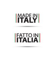two simple symbols made in italy vector image vector image