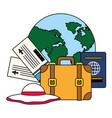 vacations world suitcase passport tickets vector image vector image