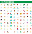 100 fish icons set cartoon style vector image vector image