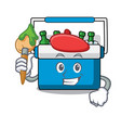 artist freezer bag character cartoon vector image