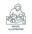 artist woman line icon vector image