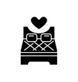 bed for lovers black icon sign on isolated vector image vector image