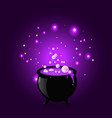 black witch pot cauldron with boiling potion vector image vector image