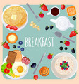 breakfast table with food isolated on vector image vector image