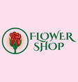 color template for flower shop with rose vector image vector image