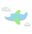 cut out fabric or paper chequered blue airplane vector image vector image