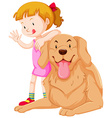 Cute girl and pet dog vector image vector image