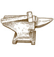 engraving of anvil and hammer vector image