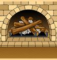 fireplace pop art vector image vector image