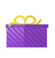 flat purple gift box present with bow icon vector image vector image