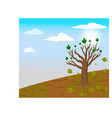 global warming and a single tree left in climate c vector image