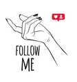 hand drawn female hand in follow me gesture flash vector image vector image