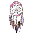 hand drawn ornate dreamcatcher with pink flowers vector image vector image