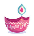 happy diwali festival pink diya lamp light vector image vector image