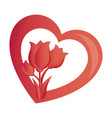 heart with roses love card isolated icon vector image vector image