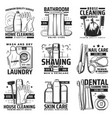 house cleaning personal hygiene and washing icons vector image