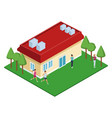 isometric house with green zones vector image vector image