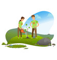 man and woman planting tree in mountains nature vector image