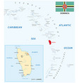 map of dominica island vector image vector image