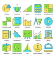 math icon set in colored line style vector image vector image